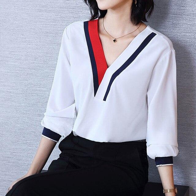 Women's Spring Summer Style Chiffon Blouses Shirt Women's V-Neck Three Quarter Sleeve Splicing Korean Elegant Tops DD9036 1