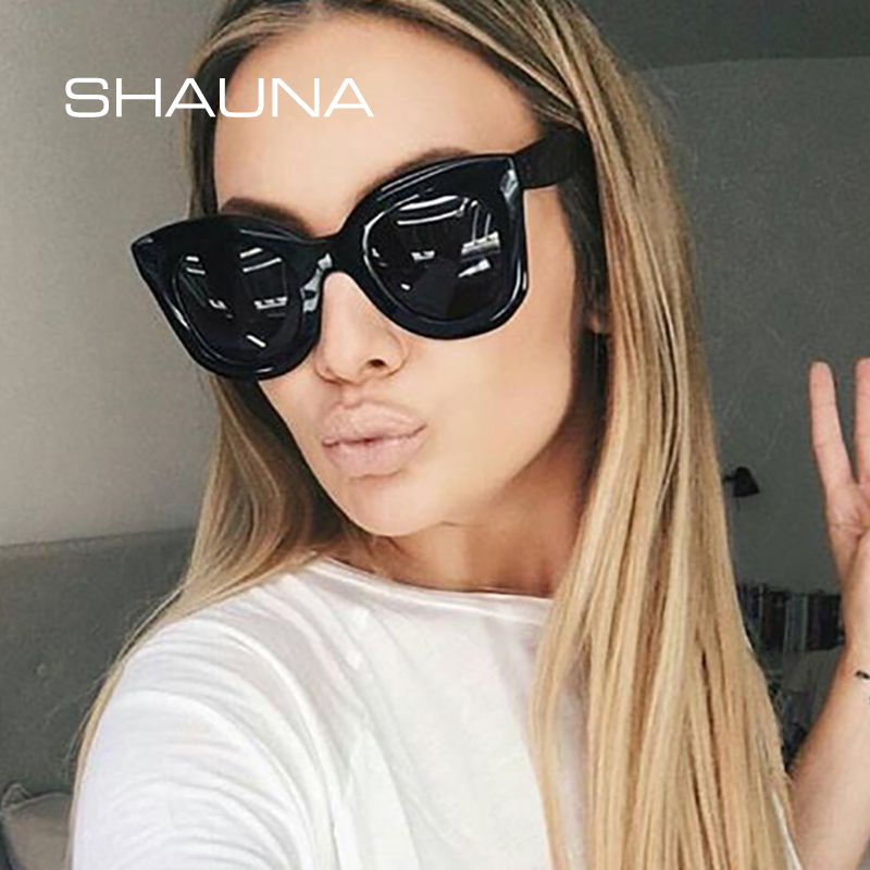 SHAUNA Metal Hinge Classic Women Cat Eye Sunglasses Fashion Nail Ladies Gradient Lens Eyeglasses