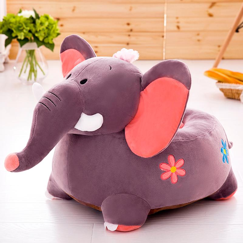 Cartoon Elephant Shaped Baby Chair Covers Skin-friendly Fabric Washable Non-fading Plush Learn Seat Case Without Filler