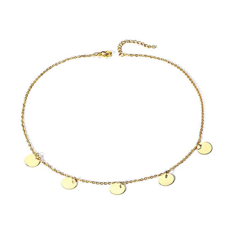 Vnox Gold Tone Coin Choker Ketting Vrouwen Rvs Kolye Colar Accessoires