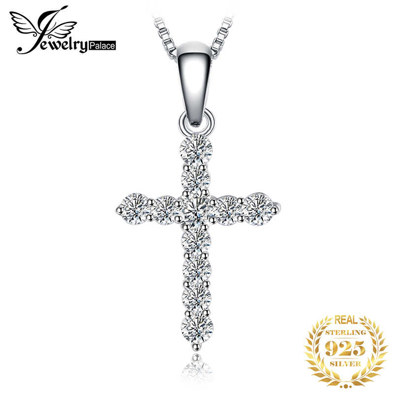 JPalace Cross CZ Silver Pendant Necklace 925 Sterling Silver Choker Statement Necklace Women Silver 925 Jewelry Without Chain