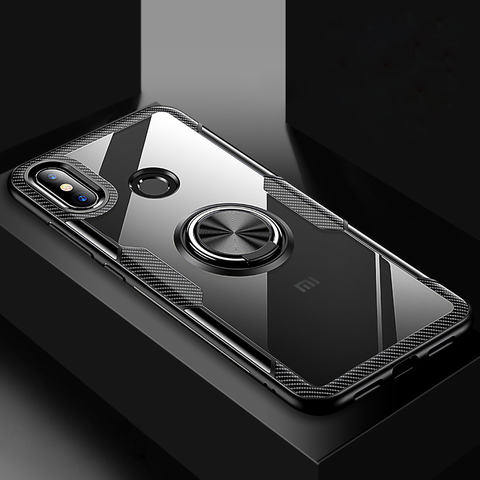 Transparent Silicone Case For Xiaomi Mi 9 8 SE Lite Shockproof Armor Metal Ring Holder Stand Back Covers Xiaomi Mi8 Cases Mi9 On Lahore