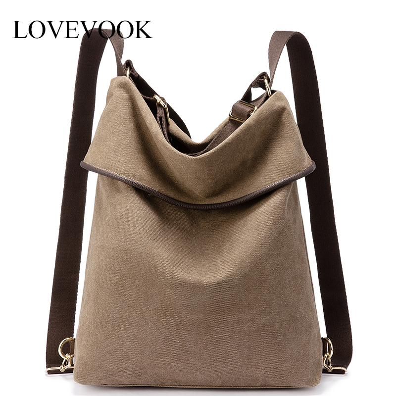 Lovevook Backpack Women Travel Bag For Women 2019 Canvas Bag Pack Shoulder Bag Female School Bags Ladies Retro Large Capacity