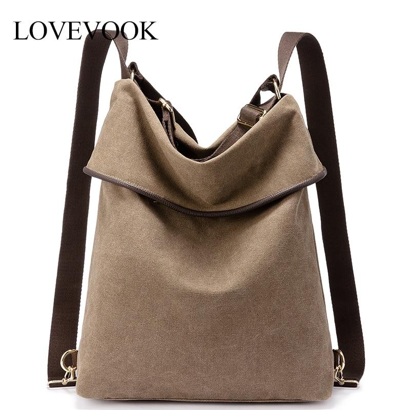 Lovevook Backpack Women Travel Bag For Women 2019 Canvas Bag Pack Shoulder Bag Female School Bags Ladies Retro Large Capacity