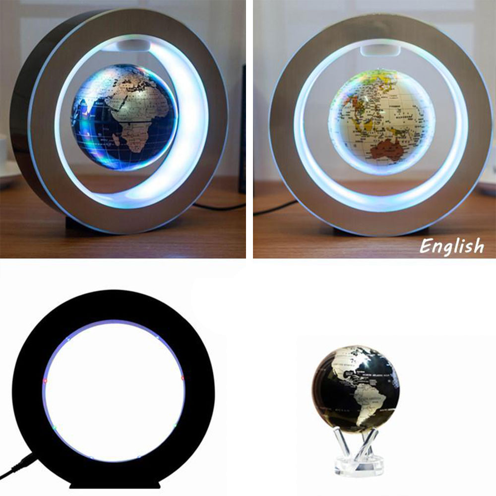 Energy Electric LED 4 Inch Power Magnetic Levitation Earth Lamps Lights Sphere UK Novelty Ball Light Christmas World Map Lights