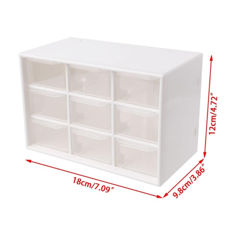 Купить с кэшбэком 9 Drawer Plastic Storage Cabinet Desktop Makeup Bin Box Jewellery Organizer Brown/White