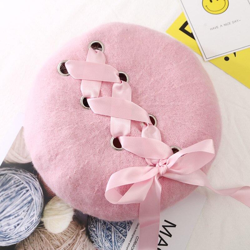 Шерстяные женские Зимние береты, роскошные бархатные винтажные кашемировые женские теплые модные береты, шапки для девушек, плоская кепка, берет для женщин - Цвет: Розовый