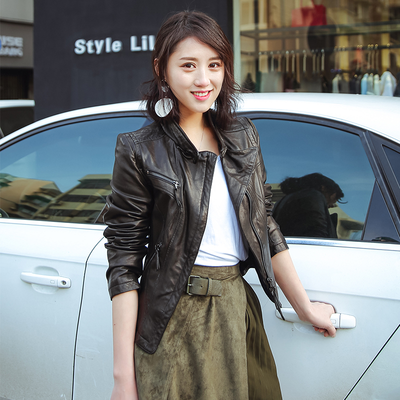 Vintage Women 2020 Spring Autumn Sheepskin Genuine Leather Slim Motrocycle Jacket Veste Femme QBL-05 YY638