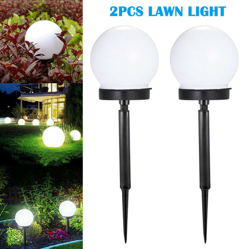 2pcs/lot Round LED Solar Light Waterproof Sunlight Power Lamp Outdoor Path Yard Lawn Ball Light For Garden Courtyard Decoration