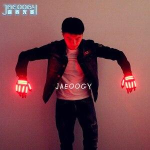 Image 1 - 送料無料 LED メガネリベットパンクメガネパーティー用品クラブの小道具ステージ衣装ハロウィン照明 LED 手袋