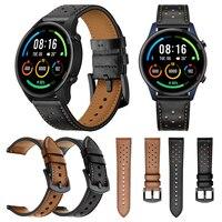 Correa de cuero genuino para Xiaomi Mi Watch, Correa deportiva de Color marrón/negro para pulsera, accesorios de reloj