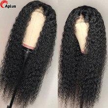 Perruque Lace Frontal Wig frisée naturelle, cheveux humains, Deep Wave, 13x4, pre-plucked, 30 pouces, Hd, pour femmes africaines