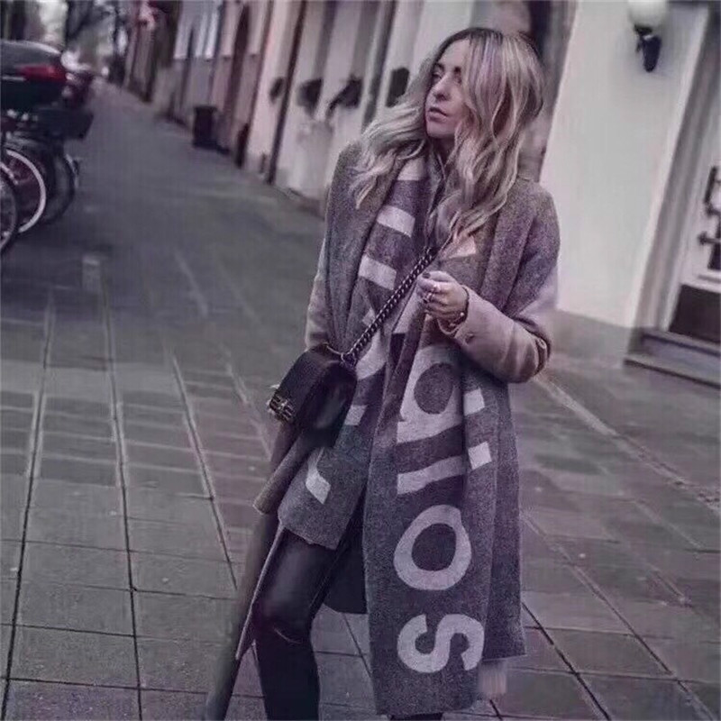 New Scarf For Autumn And Winter In  America In 2019,Foreign Trade Pure Color Letter Logo Scarf,Cashmere-like Couple Scarf Shawl