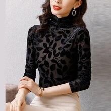 AOSSVIAO Velvet Blouse 2021 Autumn Winter Women Shirts Long Sleeve Turtleneck Basic Lady Warm Vintage Blusas Femme Tops