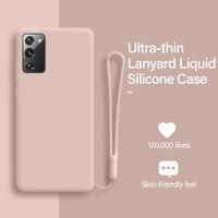 Ultra-sottile Carino Cordino Liquido Cassa Del Telefono Del Silicone Per Samsung Galaxy S20 S10 E 5G S9 S8 Nota 20 10 9 8 più di Lusso Della Copertura Molle