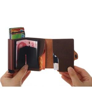 Image 2 - Casekey Anti theft Männer Brieftasche doppel Aluminium Leder Kreditkarte Halter RFID Metall Brieftasche Automatische Pop Up Geldbörse ID karteninhaber