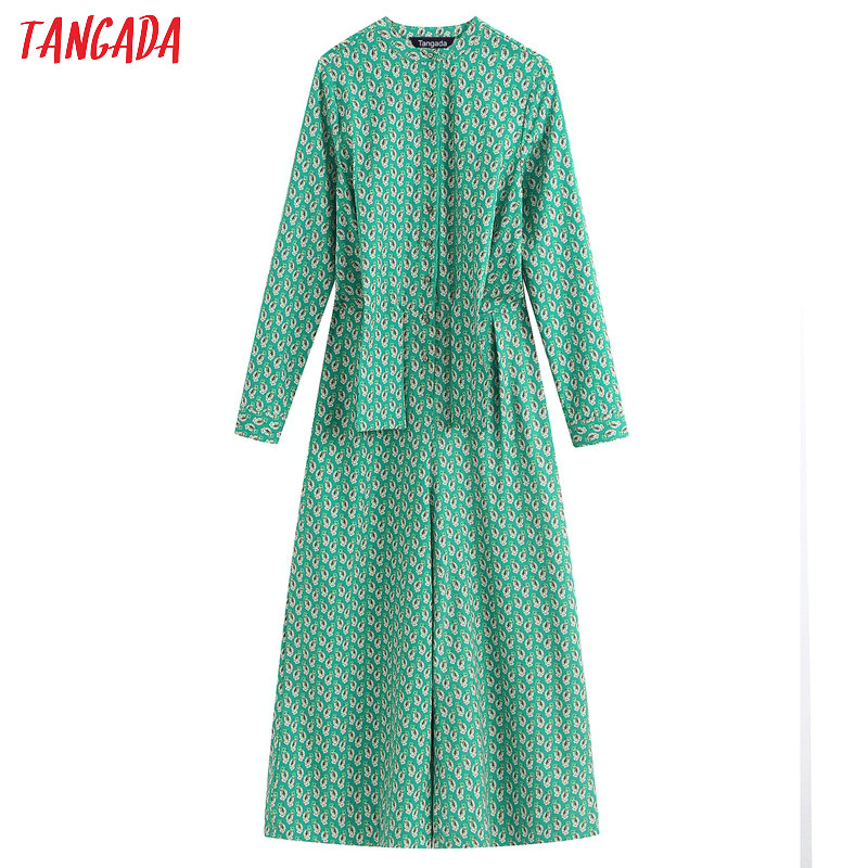 Tangada 2020 Fashion Women Floral Print Green Jumpsuit Bow Waist Long Sleeve Strethy Waist Vintage Female Casual Jumpsuit BE320