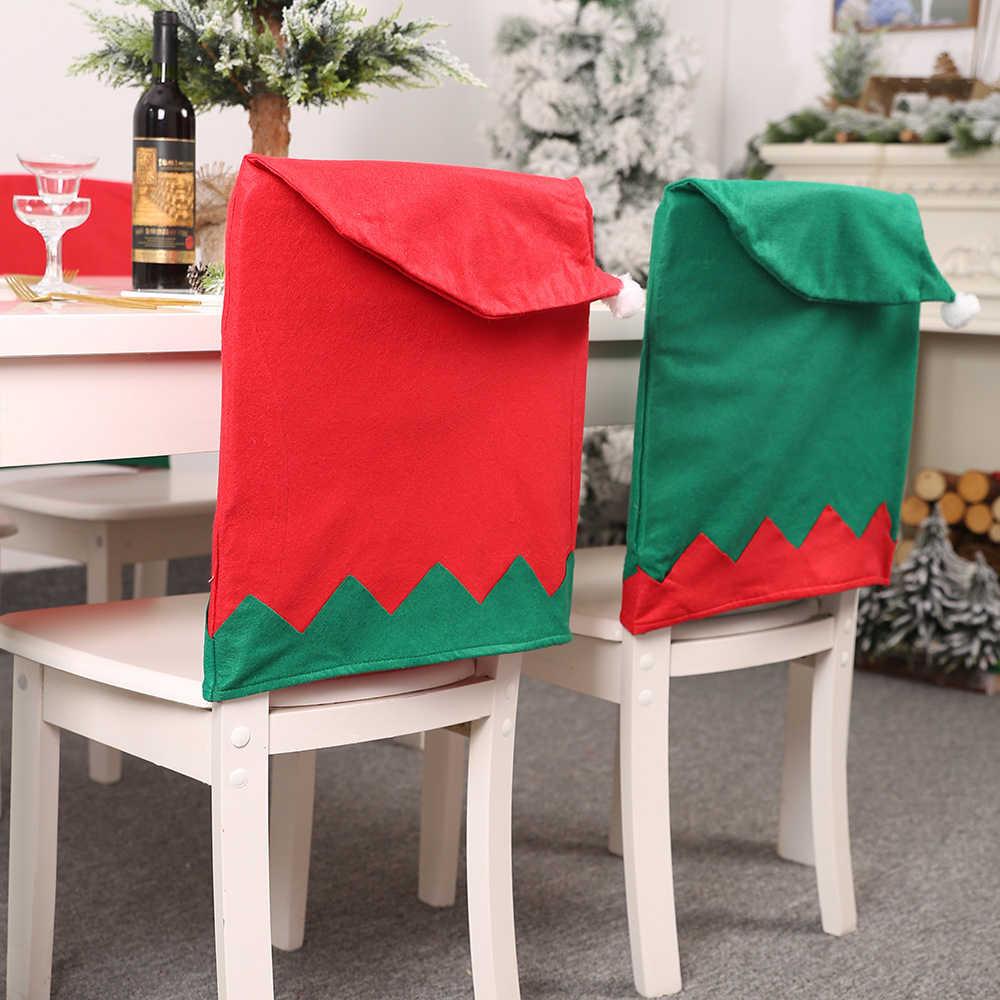 Novo natal elf cadeira capa de mesa da cozinha capas de cadeira vermelho verde grande chapéu fezes cadeira capa festa de natal decoração de casa 1 pcs
