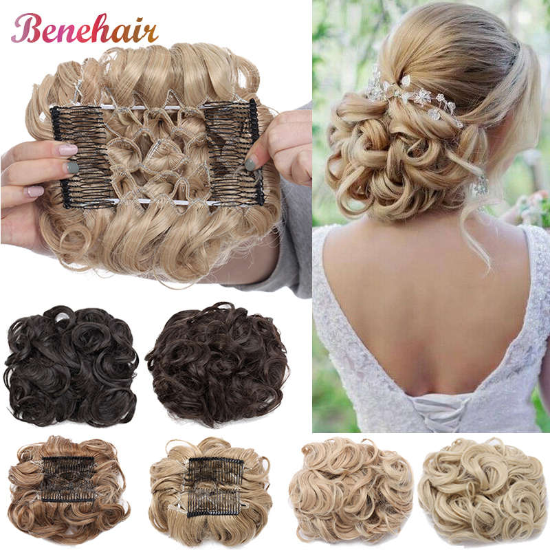 BENEHAIR Messy Hair Bun Clip In Hair Extension 2 Plastic Comb Curly Hair Chignon Synthetic Hair Messy Chignon For Women Wedding