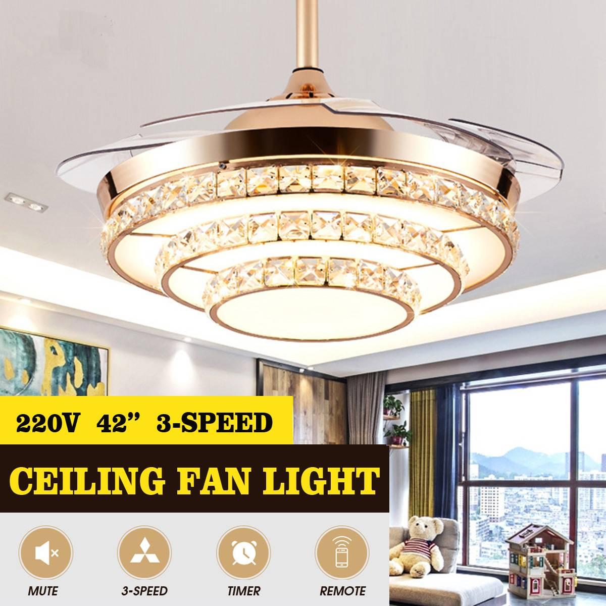 Cristal 220 v 65 w 42 retracretracretrátil led lustre de luz teto 3 velocidade controle remoto lâmina ventilador lâmpada