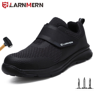 Image 1 - LARNMERN أحذية عمل الرجال الصلب أحذية سلامة بفتحة لأصبع القدم البناء واقية خفيفة الوزن للصدمات الأحذية هوك وحلقة أحذية رياضية السلامة