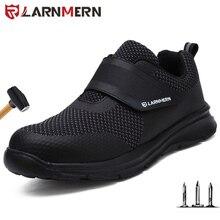 Larnmern sapatos de trabalho dos homens de aço toe segurança sapatos construção de proteção leve à prova de choque botas hook & loop tênis segurança