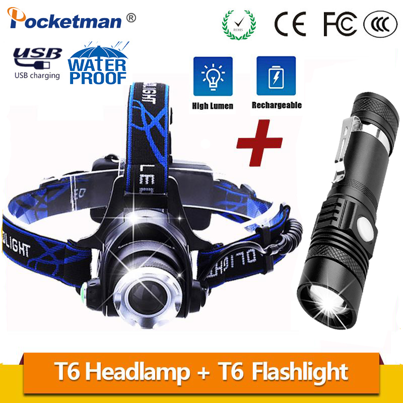 Best Price For Promotion Set LED Flashlight And LED Headlamp T6 With USB Rechargeable 18650 Battery Zoomable Torch For Outdoor