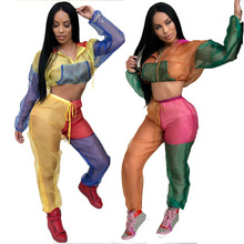 Mesh Tracksuit 2 Pcs Summer Set Women Sexy See Through Hoodies Crop Top + Drawstring Pants Transparent Two Pieces Sets