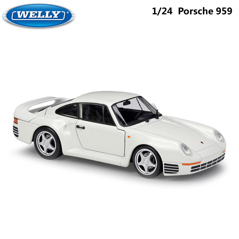 Simulator Welly Diecast Model Car 1:24 Scale Porsche 959 Classic Sports Car Metal Alloy Race Toy Car For Boy Gift Collection
