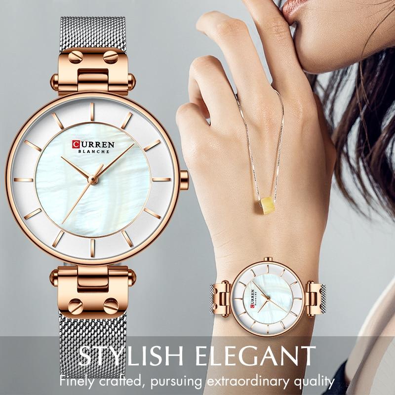 CURREN New Simple Quartz Watch Women's Dress Steel Mesh Watches Creative Ladies Bracelet Watch Girl Clock Relogios Feminino