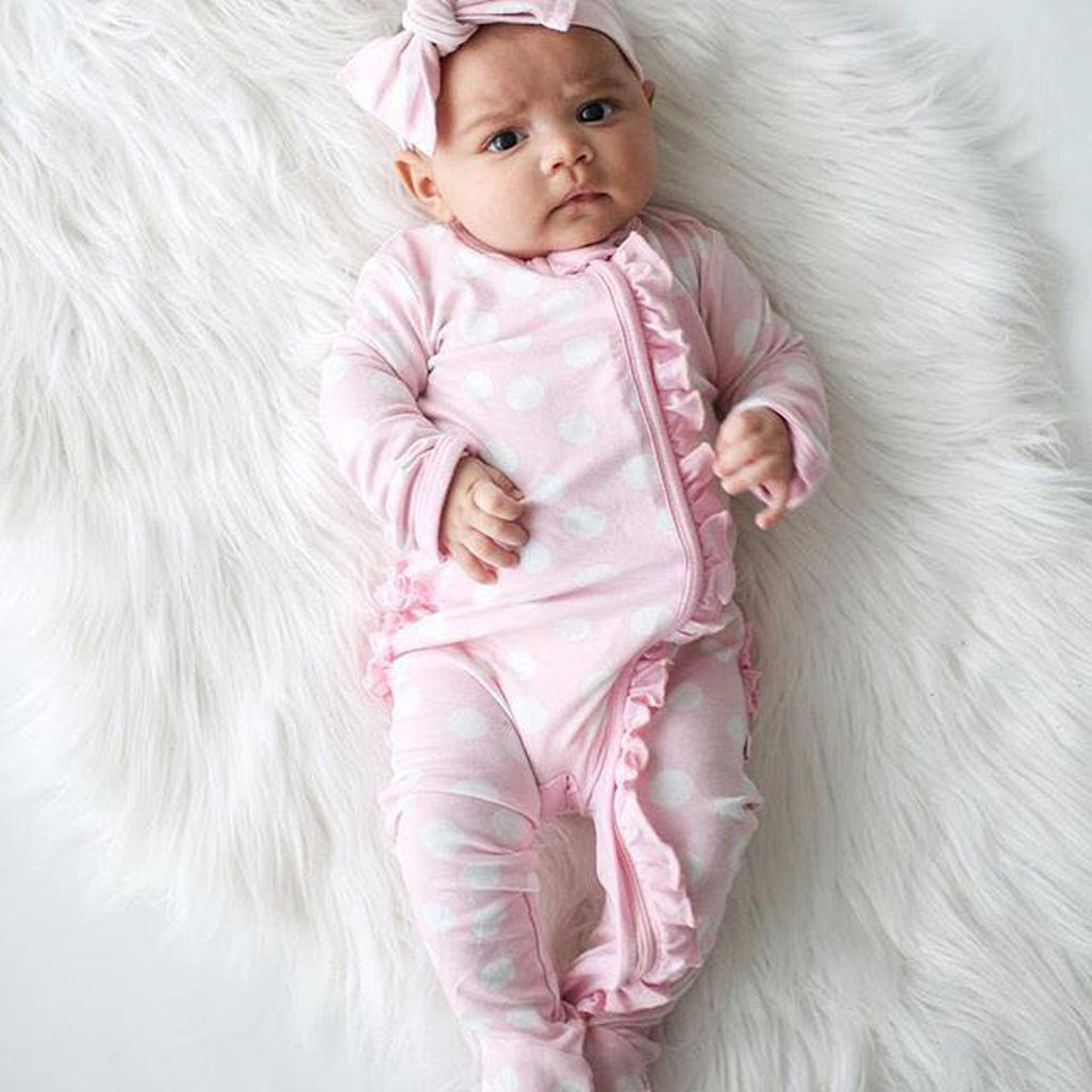 New Born Baby Clothes Infant Baby Girls Boys Footed Sleeper   Romper   Headband Clothes Outfits Set Roupas Kids Long Sleeve Clothing