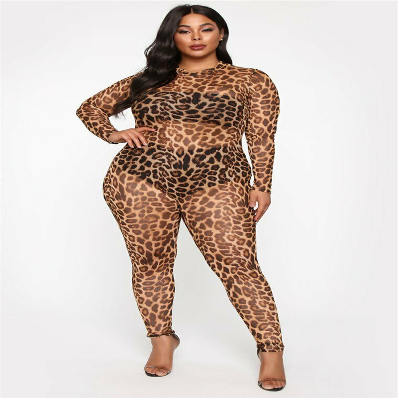 Sexy Leopard Romper Mesh See Through Sheer Jumpsuit Women High Neck Casual Jumpsuits Long Sleeve Slim Fit Fashion Solid Bodysuit
