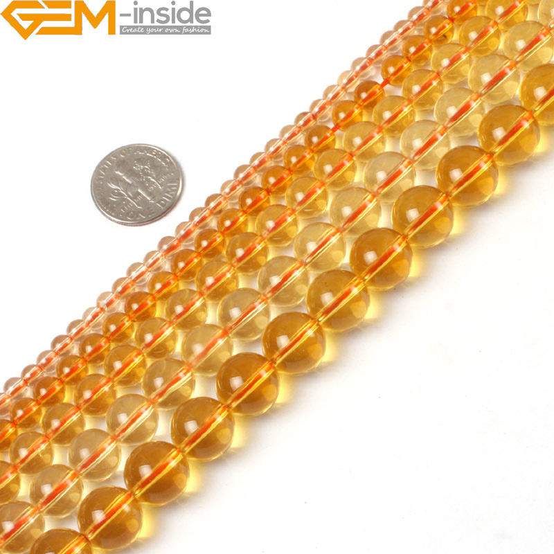 Gem-inside Yellow Citrines Clear Crystal Quartzs Tiny Small Spacer Seed Beads For Jewelry Making 2-14mm 15inches DIY Jewellery