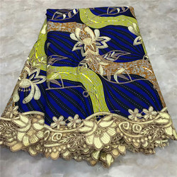 2019 High Quality New Arrival Ankara 100% Cotton Wax Lace Wax Fabric African Embroidery Dutch Wax With Lace Fabric WD091729
