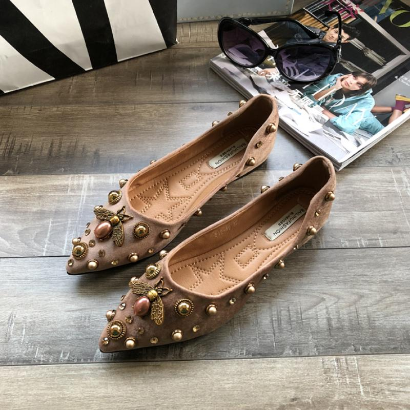 SWYIVY Women Flats Shoes Crystal Bee 2020 Spring Autumn Pointed Toe Woman Loafers Casual Shoes Women Flats Slip-On Shoes