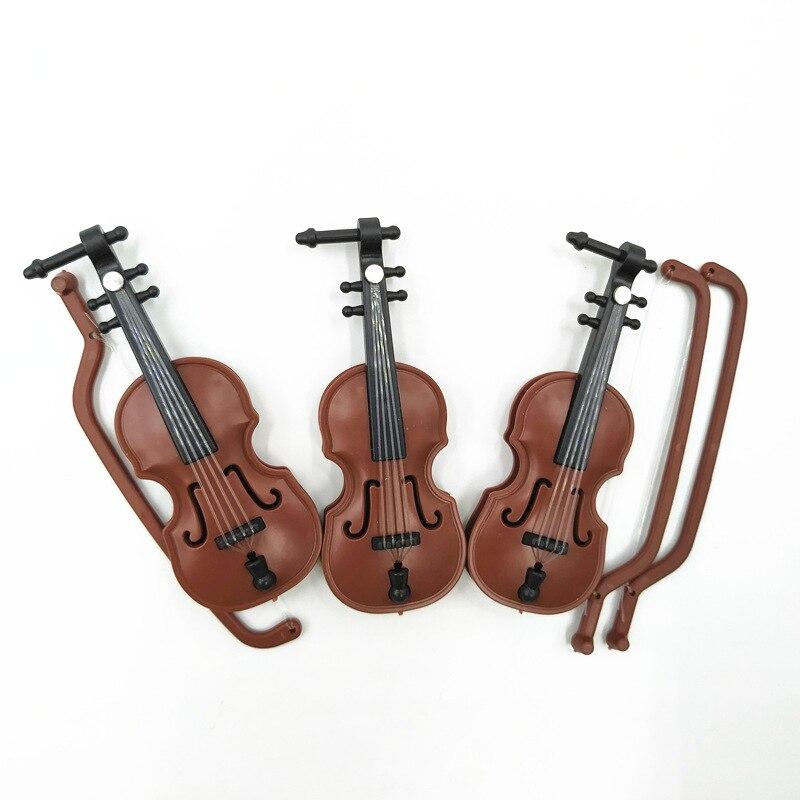 1 pçs instrumento de música diy 1/12 bonecas casa de madeira violino plástico mini violino dollhouse artesanato
