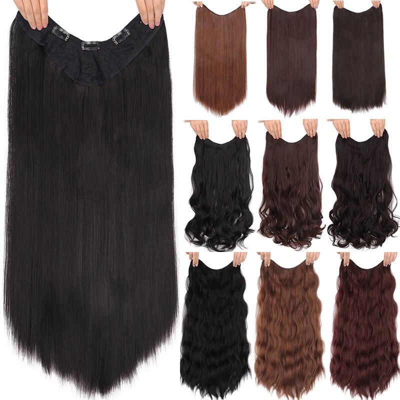 DIANQI 5 клипсов на длинных прямых волосах для наращивания, 24 дюйма, синтетические, Омбре, черные, коричневые, на заколках, накладные волосы для ...