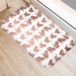 Image 5 - ブラウン幾何非スリップマットホームベッドルーム装飾カーペットキッチンリビングルームのフロアマット浴室ノンスリップドアマット 40x60 センチメートル..