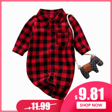 PatPat New Spring Autumn Newborn 0-12M Cotton Casual Clothes classic Plaid Polo Collar Jumpsuit for Baby Boy Baby Girl Crawling(China)