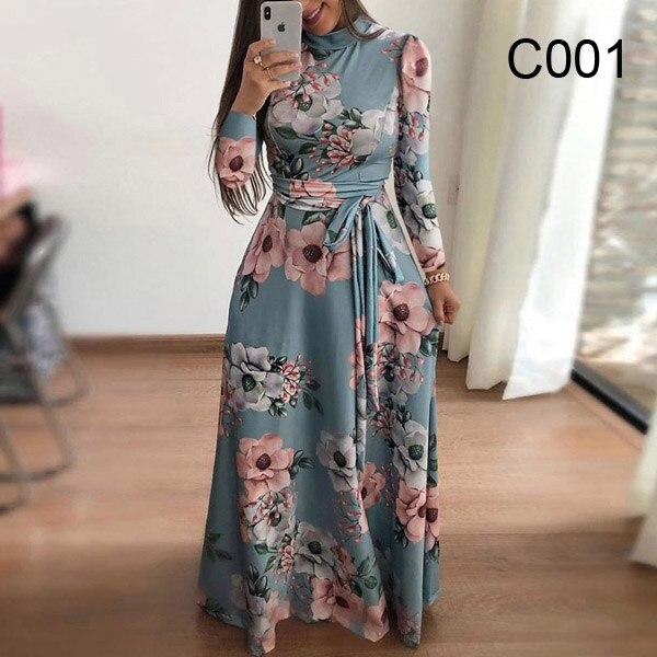Plus size women's summer long super long dress 2020 casual long sleeve flower print dress casual high collar bandage Vestidos 7