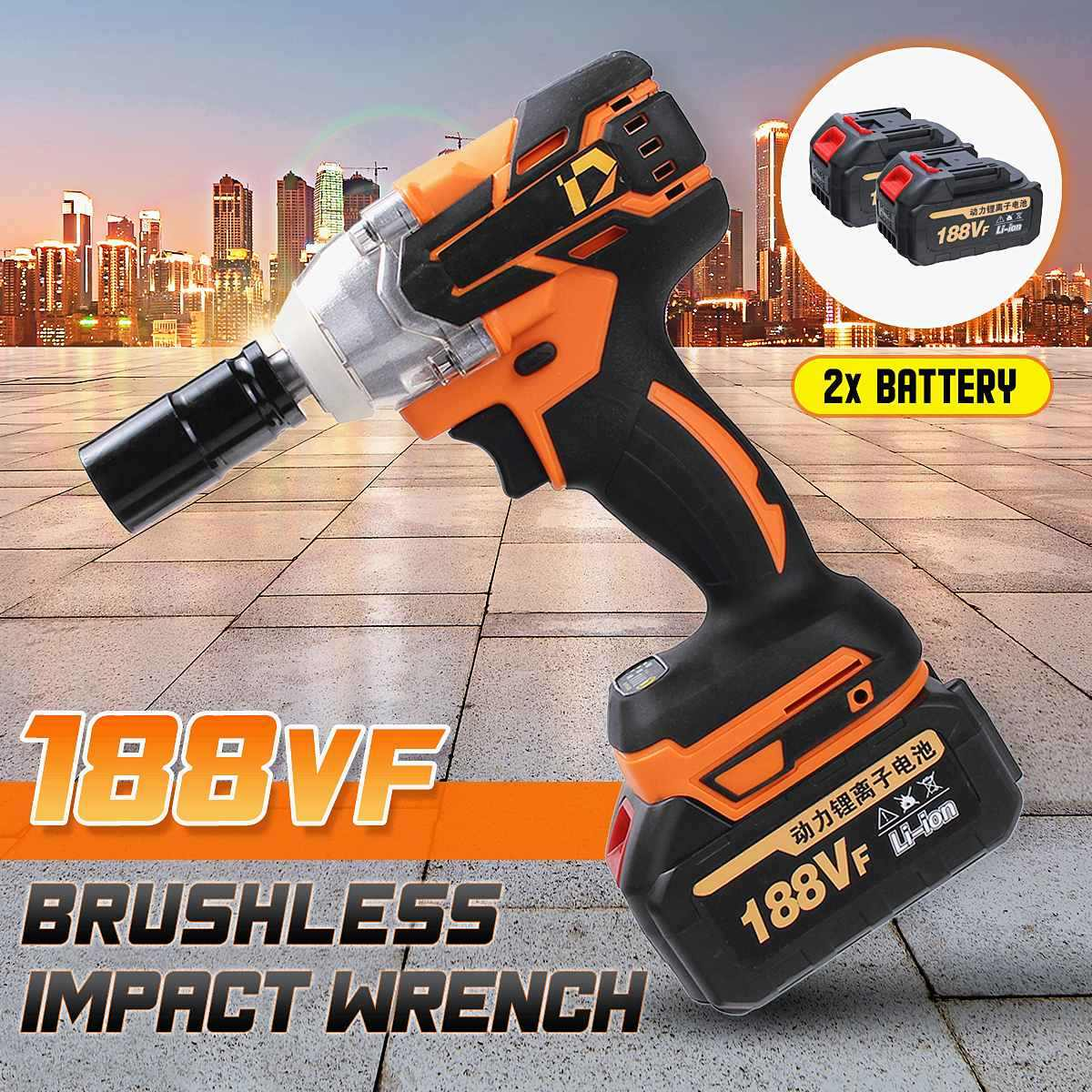 188VF 380N.m Cordless Brushless Electric Wrench Impact Socket 2X15000mAh Li Battery Hand Drill Installation  Tools 100-240V