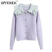 Kpytomoa Vrouwen 2021 Fashion Bejeweled Knoppen Patchwork Verstoorde Cardigan Trui Vintage Lange Mouw Vrouwelijke Bovenkleding Chic Tops
