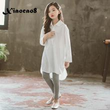 White cotton blouse for girls solid long sleeve temperament big girls shirts autumn spring kids casual loose tops girl clothing girls plaid blouse 2019 spring autumn turn down collar teenager shirts cotton shirts casual clothes child kids long sleeve 4 13t