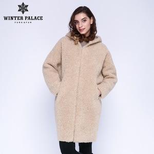 Image 1 - Hiver PALACE 2019 femmes nouveau manteau de laine longue à capuche manteau de fourrure longue à capuche Granule manteau de fourrure hiver chaud et coupe vent manteau de laine