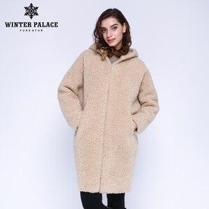 Image 1 - Kış saray 2019 kadın yeni yün ceket uzun kapşonlu kürk uzun kapşonlu granül kürk ceket kış sıcak ve rüzgar geçirmez yün ceket