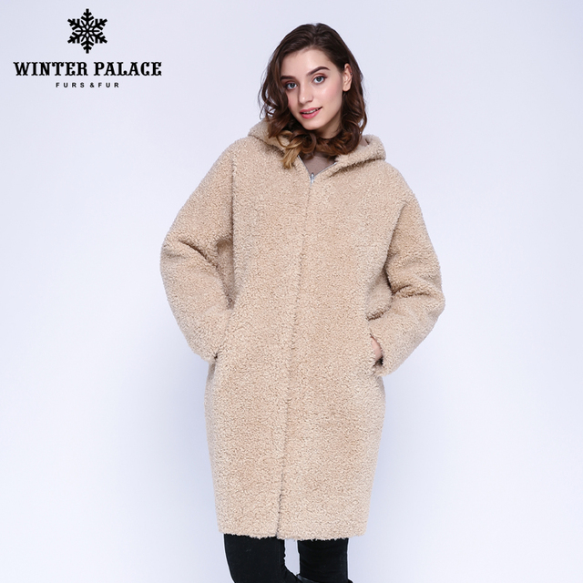 WINTER PALACE 2019 Women's New Wool Coat Long Hooded Fur Coat Long Hooded Granule Fur Coat Winter Warm And Windproof Wool Coat