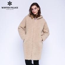 WINTER PALACE 2019 damski nowy płaszcz z wełny długie futro z kapturem długie futro z kapturem z granulatu zimowy ciepły i wiatroszczelny płaszcz z wełny