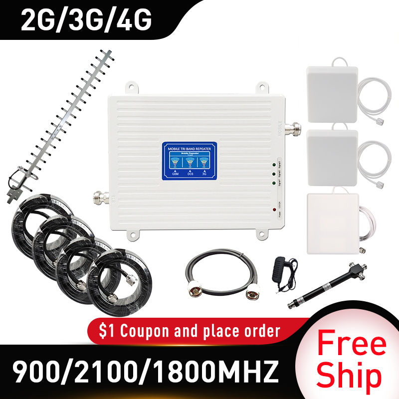 GSM LTE DCS WCDMA 900/1800/2100mhz Cell Phone Signal Booster 2G 3G 4G 70dB Mobile Cellular Signal Repeater Power Splitter 20dbi