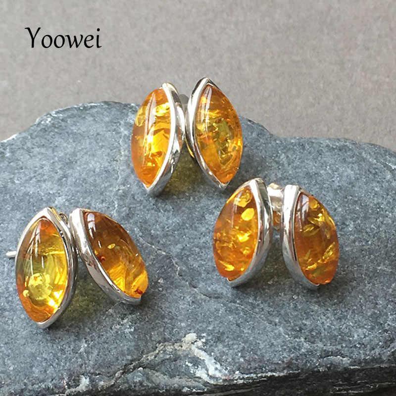 Yoowei 2019 Baru Wanita Amber Anting-Anting untuk Hadiah 100% Alami Oval Kecil Stud Anting-Anting Baltic Amber Perhiasan Grosir Ambar Kehribar