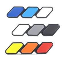 Três-cor etiqueta do carro para toyota tacoma/4 corredor/tundra carro grade emblema carro adesivo filme decalque decoração do carro por atacado